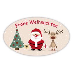 Frohe Weihnachten Etiketten.Weihnachtsaufkleber Baum Weihnachtsmann Rentier Oval 60x35mm 100