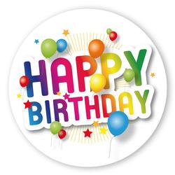geschenk aufkleber happy birthday mit luftballons rund aufkleber shop. Black Bedroom Furniture Sets. Home Design Ideas