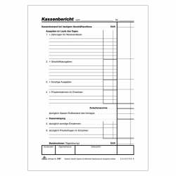 RNK Kassenbericht Bericht Kassenbuch weiß A5 50 Blatt beidseitig Kasse Block