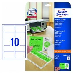 Avery Zweckform C32094 10 Superior Visitenkarten 85 X 54 Mm Einseitig Beschichtet Matt 10 Blatt 100 Stück