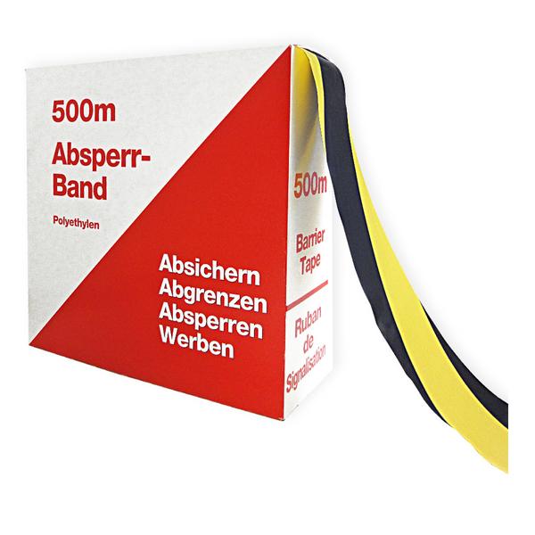 absperrband flatterband gelb schwarz schraffiert rolle 80 mm x 500 m aufkleber shop. Black Bedroom Furniture Sets. Home Design Ideas