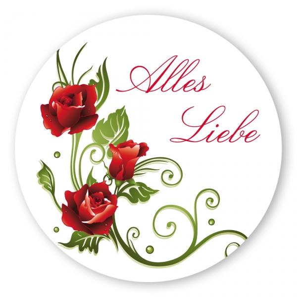 geschenk aufkleber alles liebe mit rosenranke rund aufkleber shop. Black Bedroom Furniture Sets. Home Design Ideas