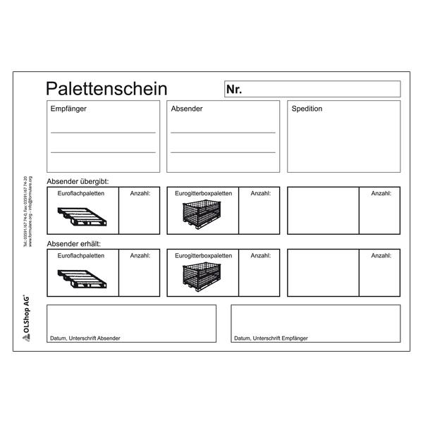 Palettenschein Lademittelnachweis Deutsch