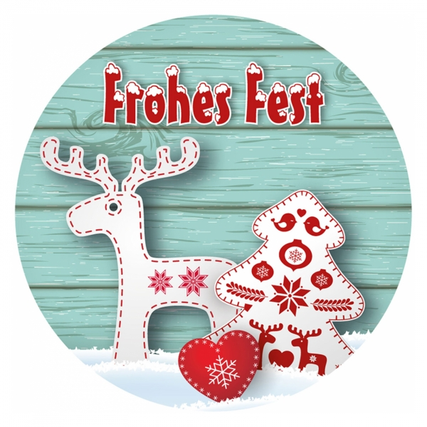"""Weihnachtsaufkleber rund /""""Frohes Fest/"""" Rentier türkis 40 mm 100er Rolle"""