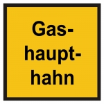 """Hinweisschild """"Gashaupthahn"""" Kunststoff"""