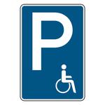 "Parkplatzschild ""Behindertenparkplatz"" Aluminium 420 x 630 mm"