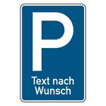 Parkplatzschild mit individuellem Zusatztext Aluminium 420 x 630 mm