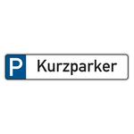 """Parkplatzreservierungsschild """"Kurzparker"""" Aluminium 520 x 110 mm"""
