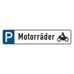 """Parkplatzreservierungsschild """"Motorräder"""" Aluminium 520 x 110 mm"""