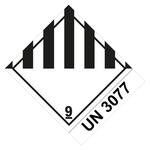 Klasse 9 Verschiedene gefährliche Stoffe u. Gegenstände mit UN 3077- Gefahrzettel 10 x 12 cm