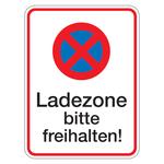 """Halteverbotsschild """"Ladezone bitte freihalten!"""" Aluminium 300 x 400 mm"""