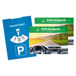 2 Fahrtenbücher für PKW DIN A6 quer mit 1 Parkscheibe im Set