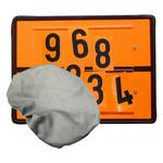 Warntafel orange aus Stahlblech mit Ziffernsatz und feuerfester Abdeckhaube