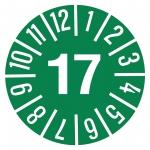 Jahresprüfplaketten grün Ø 15 mm Jahr 2017 aus PVC-Folie