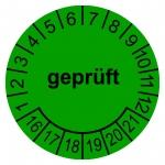 "Prüfplaketten grün Ø 30 mm ""geprüft"" 2016 - 2021 aus PVC-Folie"