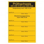 """Prüfnachweis gelb 80 x 120 mm """"Prüfnachweis DIN VDE 0100 und VDE 0105"""""""