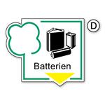 """Recycling-Aufkleber """"Batterien"""" PVC-Folie"""