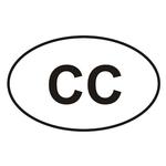 """Autoaufkleber """"oval"""" mit CC"""