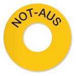 NOT-AUS gelb mit schwarzer Schrift - aus Folie