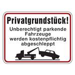 """Hinweisschild """"Privatgrundstück! Unberechtigt parkende Fahrzeuge werden kostenpflichtig ... """" Aluminium 400 x 300 mm"""