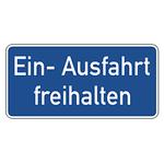 "Hinweisschild ""Ein- Ausfahrt freihalten"" Aluminium 350 x 170 mm"