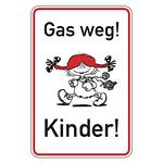 """Hinweisschild """"Gas weg! Kinder!"""" Aluminium 500 x 750 mm"""