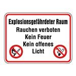 """Hinweisschild Brandschutzzeichen """"Explosionsgefährderter Raum ..."""""""