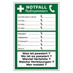 NOTFALL Rufnummern in verschiedenen Materialien