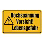 """Warnschild Kombischild """"Hochspannung Vorsicht! Lebensgefahr"""""""