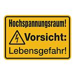 """Warnschild Kombischild """"Hochspannungsraum! Vorsicht Lebensgefahr!"""" Aluminiumschild"""