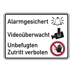 """Hinweisschild """"Alarmgesichert Videoüberwacht"""" Aufkleber 200 x 150 mm"""
