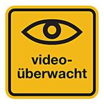 """Hinweisschild """"videoüberwacht"""" Aufkleber 100 x 100 mm"""