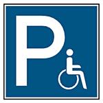 """Parkplatzschild """"Parkplatz für Rollstuhlfahrer"""" Aluminium oder Folie in verschiedenen Größen"""