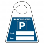 "Parkausweis ""Kfz-Nr.: + Name:"" Kunststoff 130 x 160 mm"