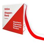 Absperrband Flatterband rot/weiß schraffiert Rolle 80 mm x 500 m