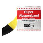 Absperrband Flatterband gelb/schwarz geblockt Rolle 80 mm x 500 m