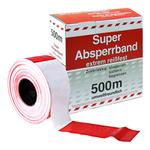 Absperrband Flatterband weiß/rot geblockt Rolle 80 mm x 500 m