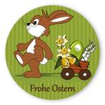 """Oster-Aufkleber rund """"Frohe Ostern"""" mit Osterhase und Wagen"""