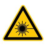 """Warnzeichen """"Warnung vor Laserstrahl"""" DIN EN ISO 7010-W004, Folie sk SL 25 mm"""