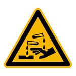 """Warnzeichen """"Warnung vor ätzenden Stoffen"""" DIN EN ISO 7010-W023, Folie sk SL 100 mm"""