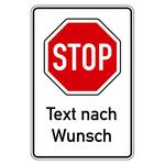 """Hinweisschild """"STOP"""" mit individuellem Zusatztext Aluminium 600 x 900 mm"""
