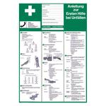 Anleitung zur Ersten Hilfe bei Unfällen aus Kunststoff in deutsch oder englisch