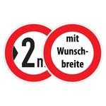 """Verkehrsschild """"Verbot für Fahrzeuge über angegebene Breite einschließlich Ladung"""" mit Wunschbreite"""
