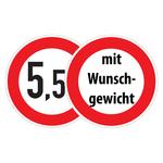 """Verkehrsschild """"Verbot für Fahrzeuge über angegebenes tatsächliches Gewicht"""" mit Wunschgewicht"""