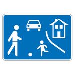 """Verkehrsschild """"Beginn eines verkehrsberuhigten Bereiches"""" aus Aluminium"""