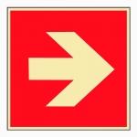 """Brandschutzschild """"Richtungsangabe links / rechts"""" ISO 3864 Aluminium langnachleuchtend 48 mcd/m² 200 x 200 mm"""