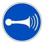 """Gebotszeichen """"Akustisches Signal geben"""" ISO 7010, M029 Folie selbstklebend � 100 mm"""