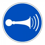 """Gebotszeichen """"Akustisches Signal geben"""" ISO 7010, M029 Folie selbstklebend � 200 mm"""