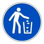 """Gebotszeichen """"Abfallbeh�lter benutzen"""" ISO 7010, M030 Folie selbstklebend � 100 mm"""
