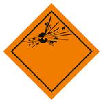 Klasse 1 Explosive Stoffe - Gefahrgutaufkleber 25 x 25 cm ohne Klasse